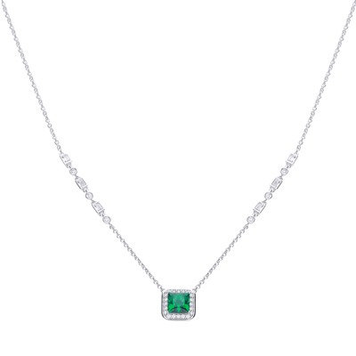 Emerald Green Zirconia Pave Set Necklace
