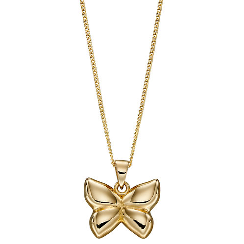9ct Yellow Gold Butterfly Necklace