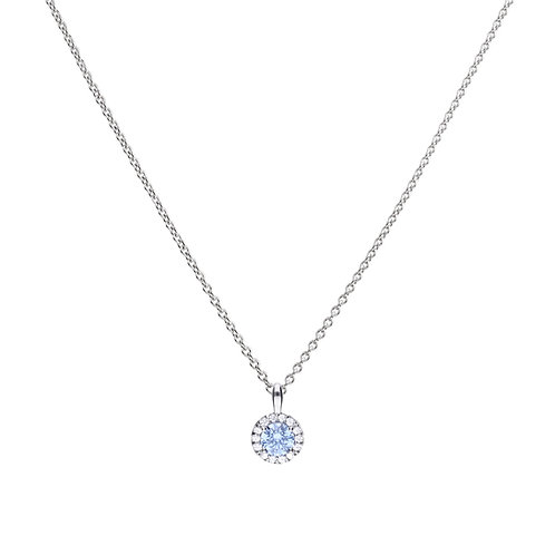 Sky Blue Zirconia Pave Set Necklace