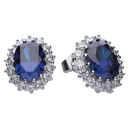Sapphire Blue Zirconia Oval Solitaire Earrings