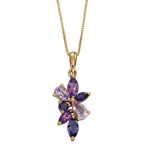 9ct Yellow Gold Semi-Precious Cluster Necklace