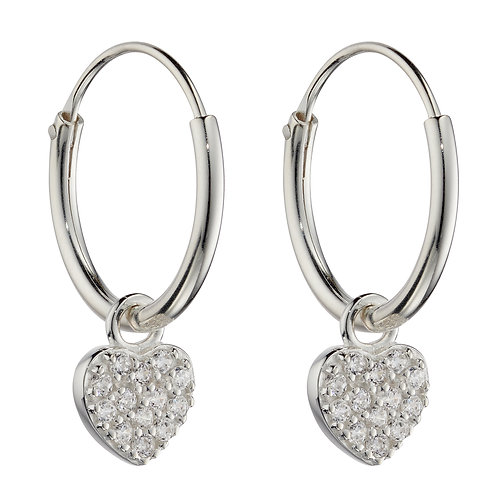 Small Pave Heart Assembled Hoop Earrings
