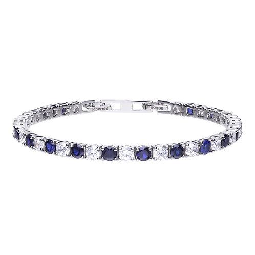Sapphire Blue Rubover Set Zirconia Tennis Bracelet
