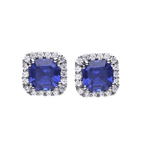 Cushion Cut Sapphire Blue Zirconia Stud Earrings