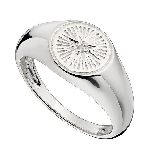 Diamond Cut Design Signet Ring with Cubic Zirconia