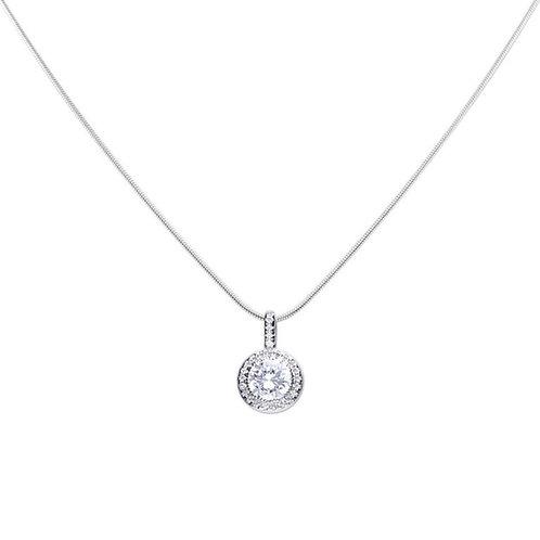 Round Pave Set Zirconia Halo Necklace