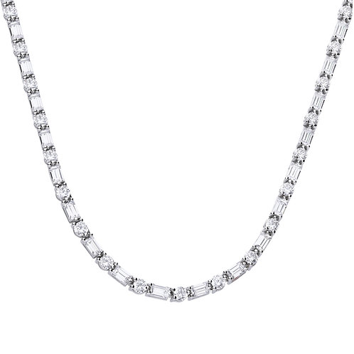Baguette and Round Cut Zirconia Necklace