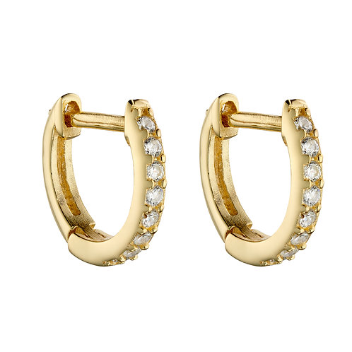 Yellow Gold Plated Hoop Earrings with Cubic Zirconia