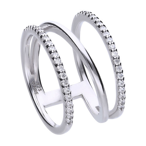 Triple Band Pave Set Zirconia Ring