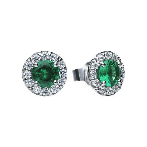 Emerald Green Zirconia Round Solitaire Earrings