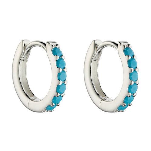 Turquoise Crystal Hoop Earrings