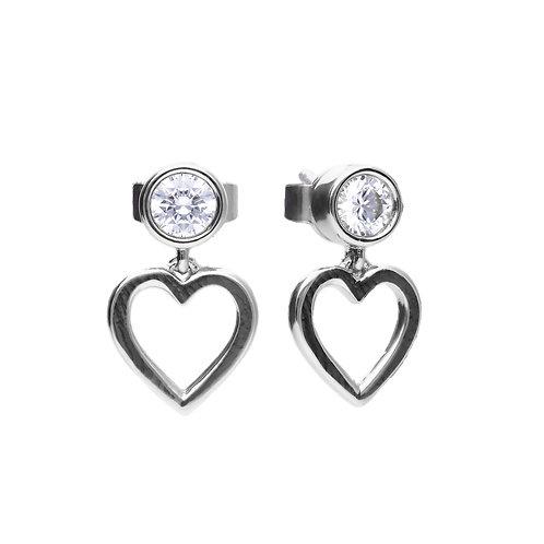 Bezel Set Zirconia Open Heart Earrings