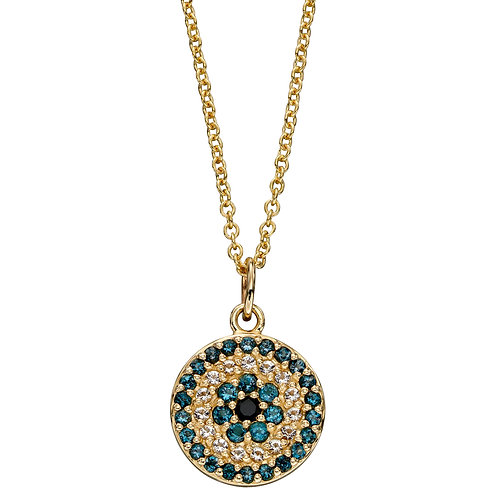 9ct Yellow Gold Evil Eye Necklace with Topaz