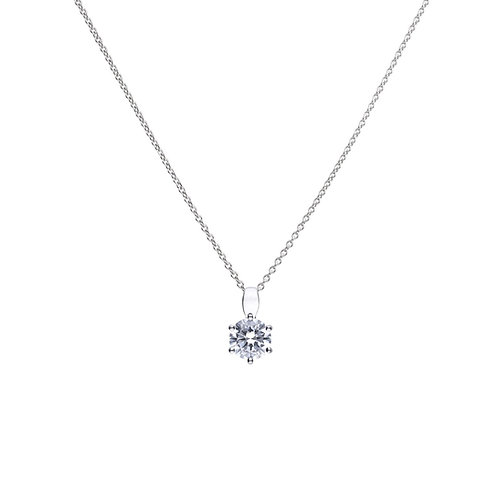 Claw Set 1.5ct Zirconia Solitaire Necklace