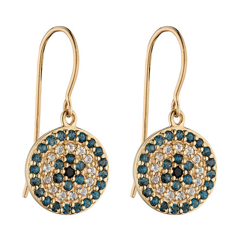 9ct Yellow Gold Evil Eye Drop Earrings with Topaz