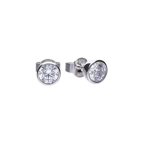 Bezel Set 1ct Zirconia Solitaire Stud Earrings