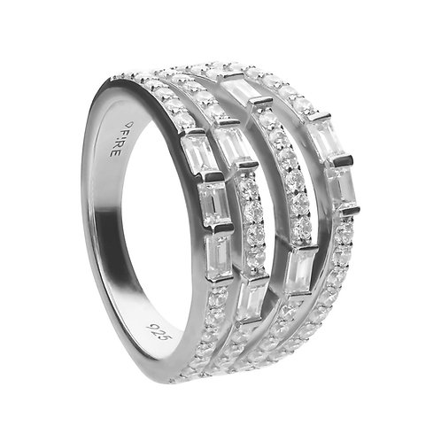 Multiband Statement Baguette Zirconia Ring