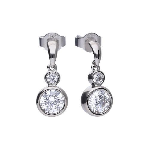 Rubover Set Zirconia Double Drop Earrings