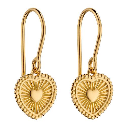 Sunray Texture Heart Drop Earrings