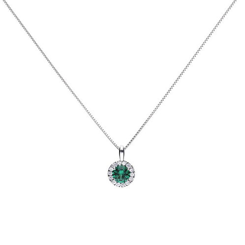 Emerald Green Zirconia Round Solitaire Necklace