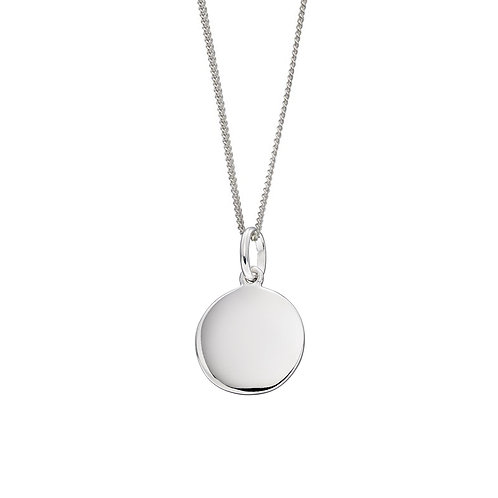 Sterling Silver Plain Disc Necklace or Charm