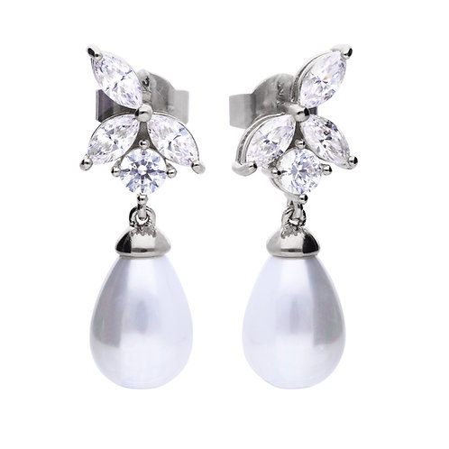 Marquise and Pearl Drop Earrings