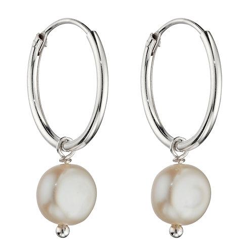Freshwater Pearl Assembled Hoop Earrings