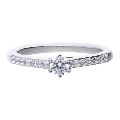 Solitare Ring with Pave Set Shoulders