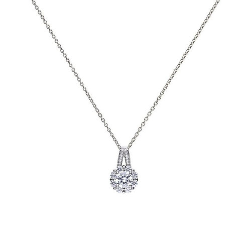 Flower Shaped Zirconia Cluster Necklace