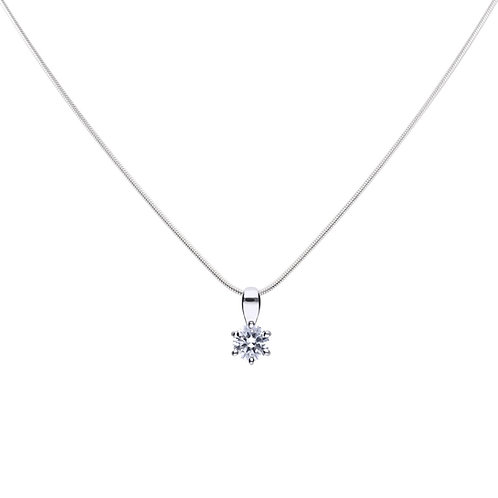Claw Set 0.5ct Zirconia Solitaire Necklace