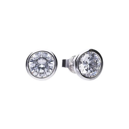 Bezel Set 3ct Zirconia Solitaire Stud Earrings