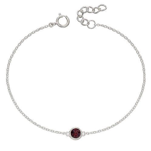 Sterling Silver Crystal Birthstone Bracelet