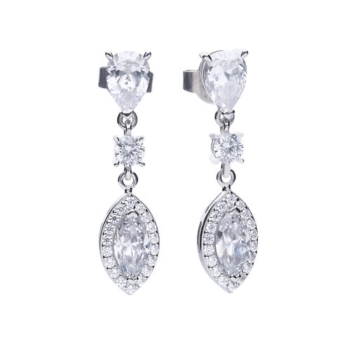 Marquise and Pave Zirconia Drop Earrings
