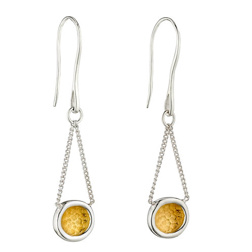 Sterling Silver Hammered Drop Earrings with Yellow Gold Plating