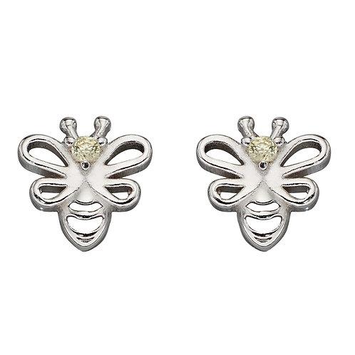 Bee Stud Earrings with Cubic Zirconia
