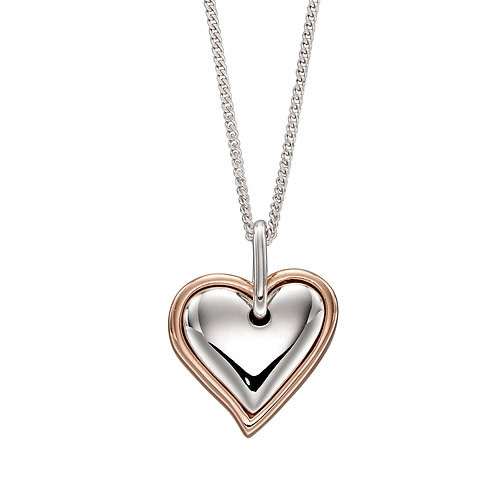 Fiorelli Double Heart Necklace with Rose Gold Plating