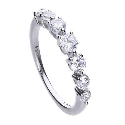 Claw Set Zirconia Half Band Ring