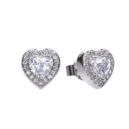 Heart Shaped Pave Set Zirconia Stud Earrings