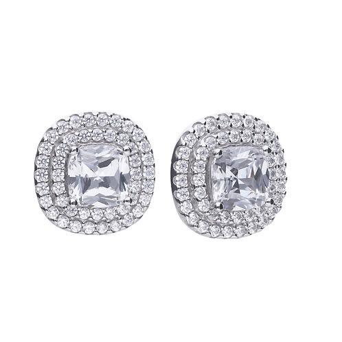 Double Halo Zirconia Earrings