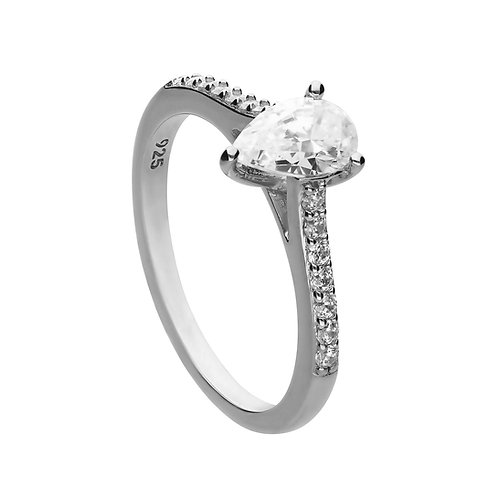 Shaped Zirconia Ring with Pave Shoulders