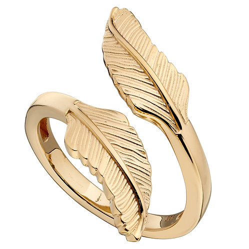 Yellow Gold Plated Feather Wrap Around Ring