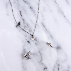 4 claw carat ring, necklace and stud earring set inspired by diamonds