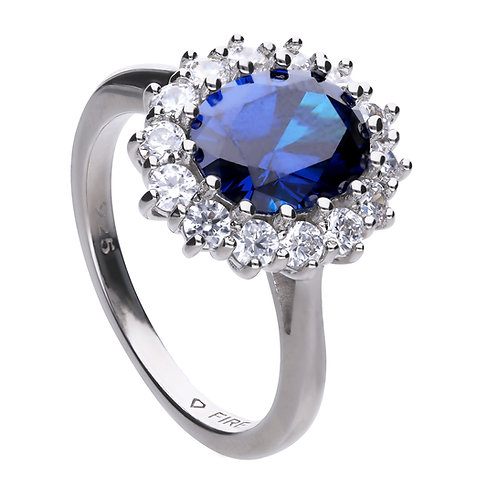 Sapphire Blue Zirconia Oval Solitaire Ring