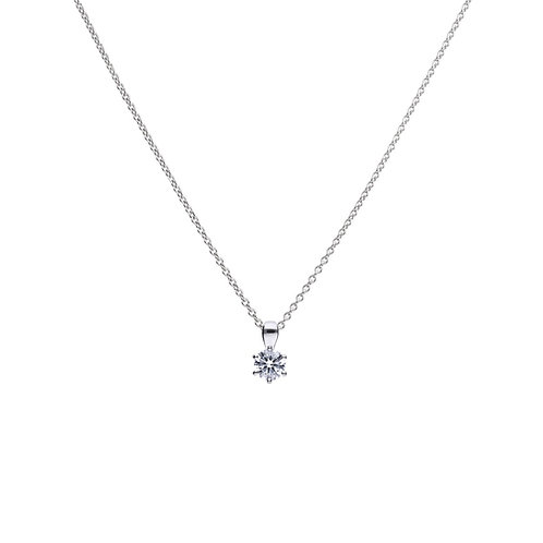 Claw Set 0.75ct Zirconia Solitaire Necklace