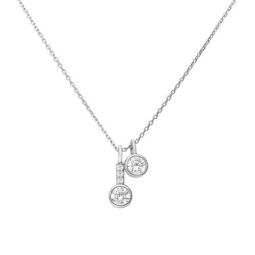 Double Zirconia Drop Necklace