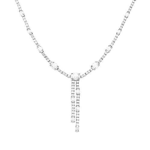 Oval and Round Zirconia Y Drop Necklace