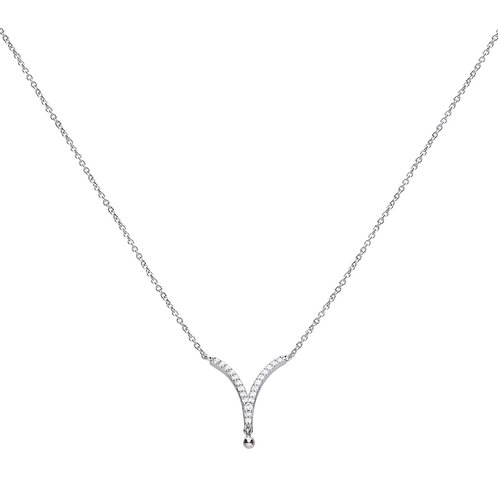 V Shaped Pave Set Zirconia Necklace