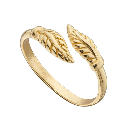 Yellow Gold Plated Feather Wrap Around Toe Ring