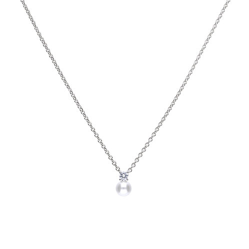 White Pearl and Zirconia Necklace