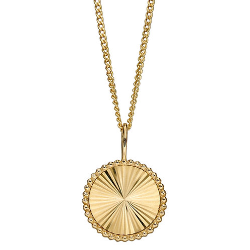 9ct Yellow Gold Diamond Cut Detail Necklace